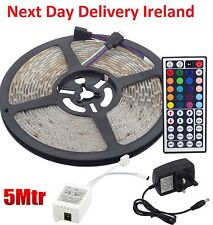 5M 5050 RGB LED Strip Lights 44 Key Kitchen Remote Controller UK Power Supply