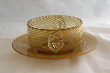 ANTIQUE SALVIATI VENETIAN MURANO GOLD COPPER AVENTURINE MASK FINGER BOWL & PLATE