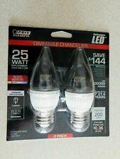Feit Electric LED Dimmable Chandelier 25 Watt  2-Pack New Light Bulb