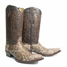 LOS ALTOS MEN RUSTIC BROWN GENUINE PYTHON SNAKE COWBOY SNIP-TOE BOOT 945785 (D