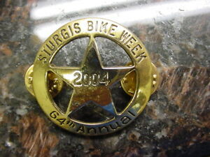 STURGIS BIKE WEEK*64th* 2004*VERY NICE*GOLD BADGE PIN**BRAND NEW*MINT