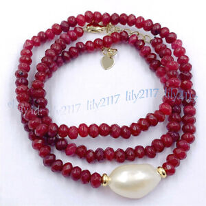 Faceted 2x4mm Red Ruby Roundel Gems & 11-12mm White Baroque Pearl /Jade Necklace