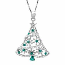Crystaluxe SCP005356SCYE18 Christmas Tree Pendant With Swarovski Crystals - Forest/White