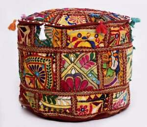 Cotton Ottoman Fabric Embroidered Patchwork Home Decor Round Pouf Cover