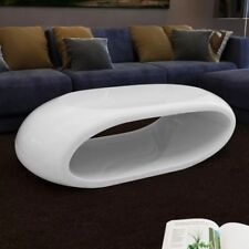 Coffee Table Fiber Glass Hollow Modern Design Gloss Living Room Furniture White
