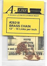 "Brass Chain Aline #29218 - 12"", 15 Links Per Inch - 0, H0, S & N Scale"