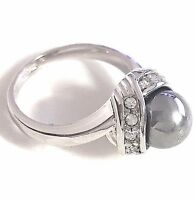 Round Gray Pearl Diamond Ring 18K White Gold Plated Women Jewelry Size 7 RX31