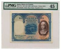 SPAIN banknote 500 Pesetas 1927 PMG XF 45 Extremely Fine grade