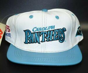 Carolina Panthers NFL Vintage 90s Modern Headwear Leather Snapback Cap Hat - NWT