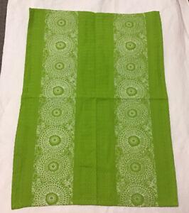 Tag Ltd hana floral ww tag dish towel chartreuse Green White