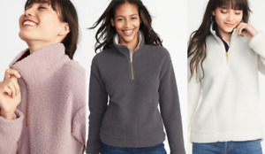 OLD Navy WOMENS Popover SHERPA Pullover 1/4 ZIP Fleece NWT New!! M 2XL 2X Plus