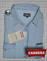CAMICIA AZZURRA JEANS CARRERA DOPPIO STONE WASH CON CLIPS MISURA L XL