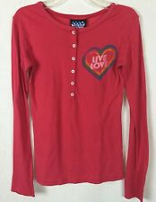 Junk Food XS Live Love Distressed Heart Henley Blouse Shirt Top g