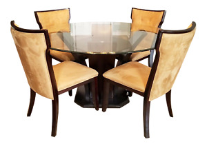 Contemporary Round Glass-Top Dining Table With Four Ultra-Suede Chairs
