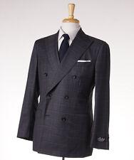NWT $3795 BELVEST Gray-Pink Windowpane Check Wool Suit Slim-Fit 40 R (Eu 50)