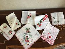 7 Vintage Embroidered/Printed Christmas Handkerchiefs Dog in Stocking/Poinsettia