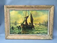 Antico quadro mare pesca cornice in legno déco vintage francese antico