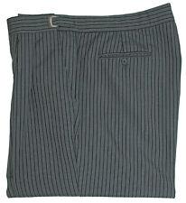 Men's Black and Grey Hickory Striped Pants Formal Morning Dress Adjustable Waist