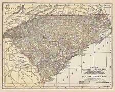 1900 Antique North Sout 00004000 H Carolina color map original authentic
