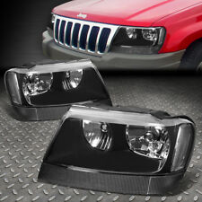 FOR 1999-2004 JEEP GRAND CHEROKEE BLACK HOUSING CLEAR CORNER HEADLIGHT/LAMP SET