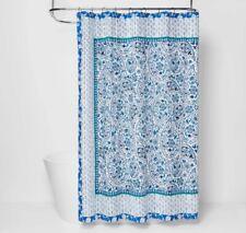 Opalhouse Bandana Print Shower Curtain 72 x 72 White Blue 100% Cotton New
