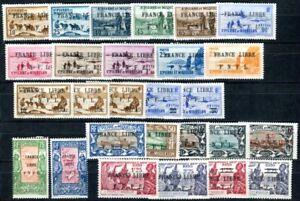 ST PIERRE et MIQUELON 1941 Yvert 237-287 ex * 27 WERTE FRANCE LIBRE (H5693
