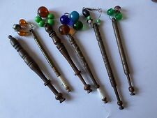 6 antique wooden lace tatting bobbins with glass spangles all different  lot 2
