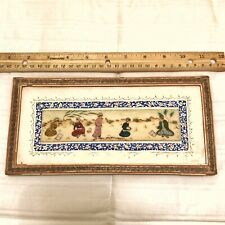 RARE Antique Middle Eastern Hand Painted Artwork In Hand Made Wood Mosaic Frame