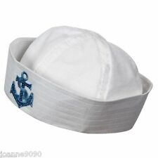 SEA MARINE DOUGHBOY FANCY DRESS SAILOR WHITE COSTUME HAT WITH SEQUIN BLUE ANCHOR
