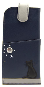Cat Glasses Case Soft MALA Leather Navy Blue Spectacle Reading Sunglasses Travel