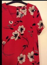 BNWT 🌹 NEXT  🌹Size 10 Red Floral Day Holiday Shift Summer Dress (EU 38 ) New