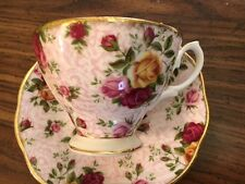 VTG ELEGANT ROYAL ALBERT COUNTRY ROSES DUSKY PINK LACE CUP AND SAUCER SET