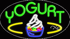 "New ""Yogurt"" 30x17x3 Oval Solid/Flashing Real Neon Sign w/Custom Optons 14409"