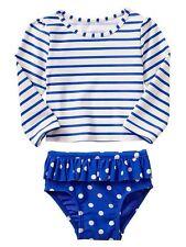 GAP Baby / Toddler Girl 12-18 Months Blue / White 2-Piece Rashguard Bathing Suit
