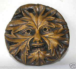Green Man Medieval carving Greenman Gothic pagan wall plaque Hand Made Gift Oak