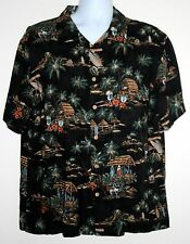 Men's Hawaiian Shirt Casual Bowling Island Palm Trees Surfboards MERONA Large L
