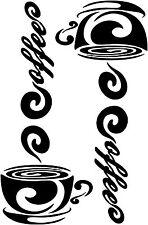Set 2 Coffee Cup Vinyl Decal, Kitchen wall decor, Restaurant vinyl sticker