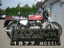 HONDA CB 750 Four CB750K NECK Frame Data Plate year 1977 11/76