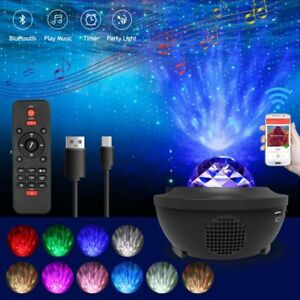 LED Dreamy Starry Night Sky Projector Light Ocean Wave Party Speaker Lamp Remote