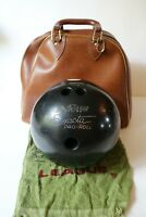 Vintage AMF Exacta Pro-Roll Bowling Ball 15 lbs 2 oz with brown carrying case