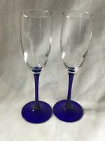 Clear Champagne Flutes with Cobalt Blue Stems Made in France Set of 2
