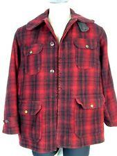 Vintage Woolrich Wool Coat Red & Black Plaid Mackinaw Hunting Jacket Mens Sz 42