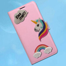 Clouds Rainbow Unicorn PU Leather Wallet Magnetic Flip Phone Case For Xiaomi