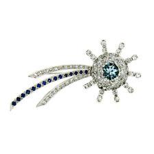 Vintage 14k Gold 3.39ctw FINEST Aquamarine Diamond Sapphire Shooting Star Brooch