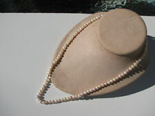 925 CLASP BAROQUE CHAMPAGNE &WHITE LUSTRE GENUINE PEARLS SINGLE KNOTTED NECKLACE