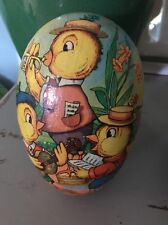 Vntg Easter Paper Mache Egg w Ducks Music Band Easter Collectible West Germany