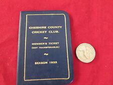 Cheshire County Cricket Club Stagione 1933 membri TICKET