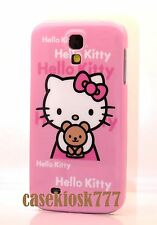 for Samsung galaxy S4 cute hello kitty s 4 phone case cover pink w/ teddy bear\