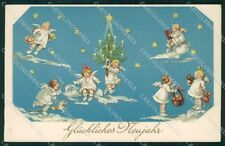 Artist Signed Christmas Angels serie 90276 cartolina XP8484