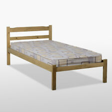 Panama Single Bed Frame - Single 3ft - Natural Wax Pine - Bedroom Basic Guestbed